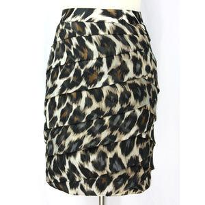 Worthington Leopard Print Tiered Silk-Like Skirt